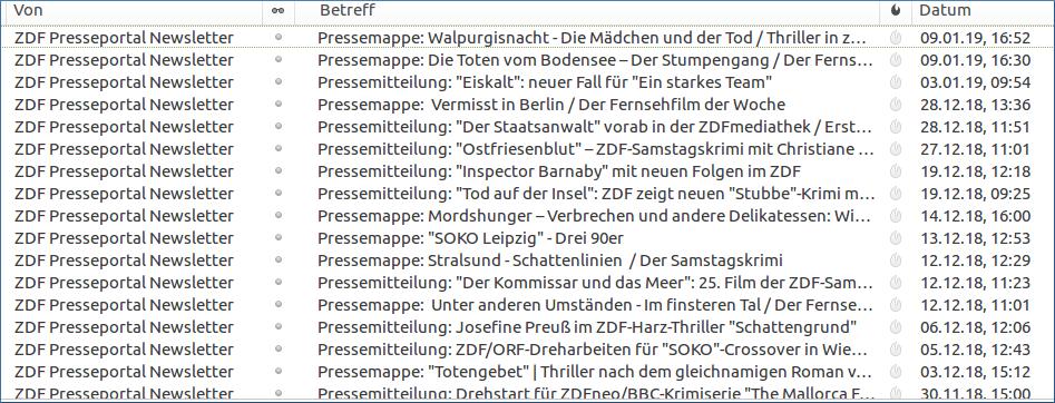 Ankündigung neuer Krimis beim ZDF