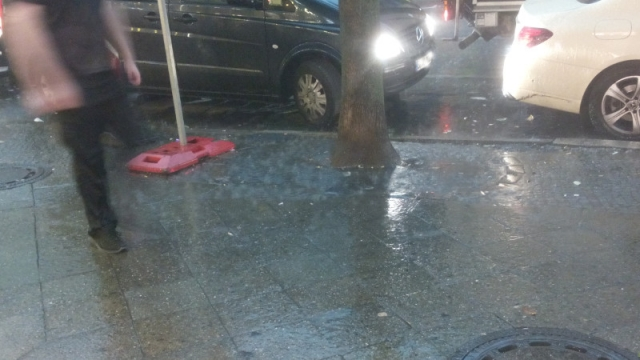 Platzregen im Sommer in Berlin gießt den Straßenbaum