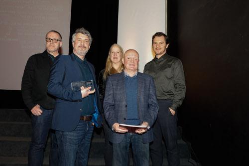 Bester Film Dt. Fernsehkrimifestival: Das Gesetz sind wir. vorne v.l. André Zoch, Produzent, und Günther van Endert (ZDF-Redakteur)